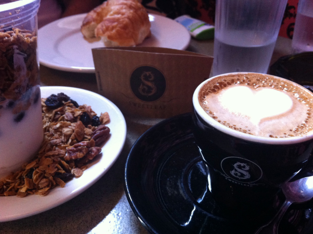 Coffee, yoghurt and granola at Sweetleaf in Queens, New York City