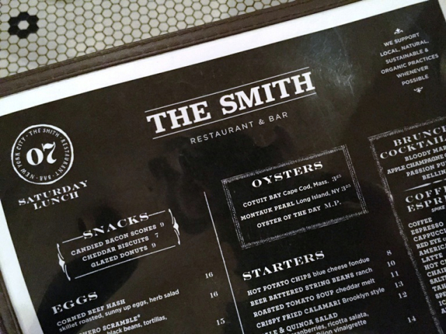 menu The Smith New York City brasserie East Village