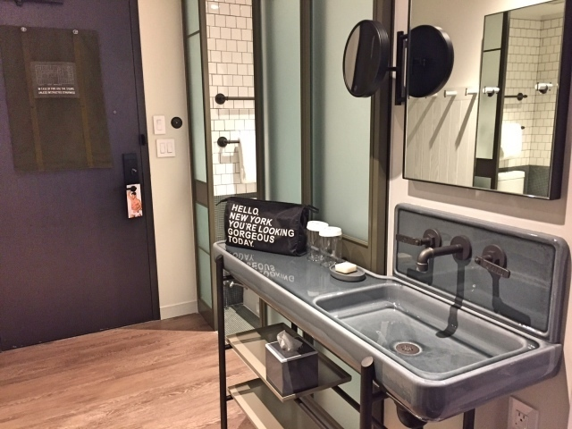 Moxy NYC Times Square hotel - sink in room